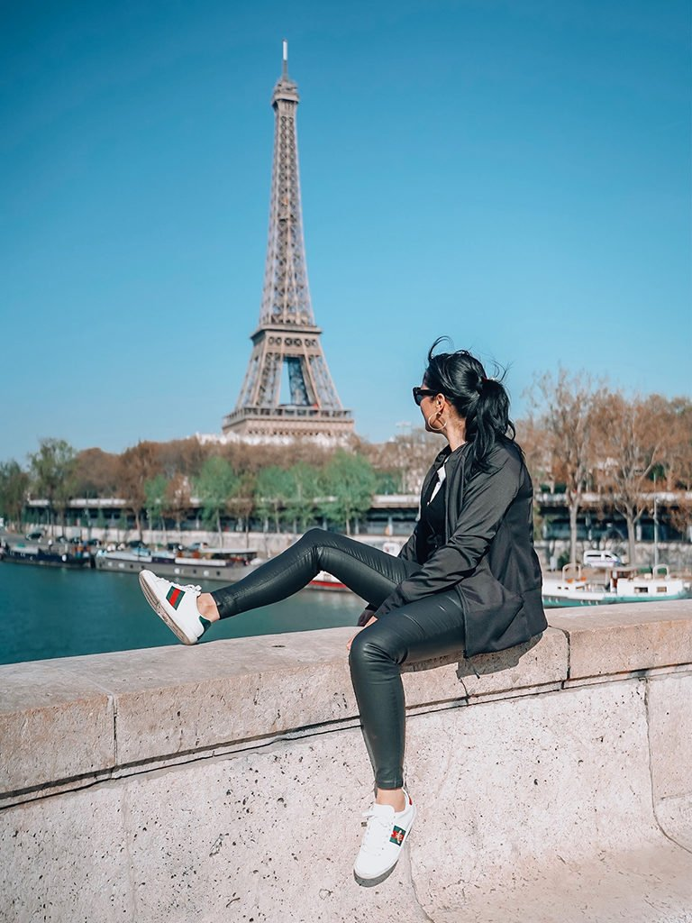 Best view of Eiffel Tower. Woman sitting